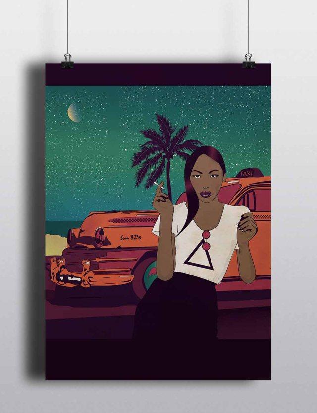 asian woman mockup poster